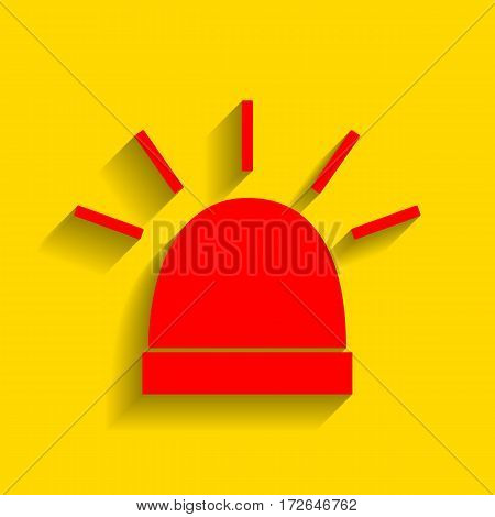Police single sign. Vector. Red icon with soft shadow on golden background.