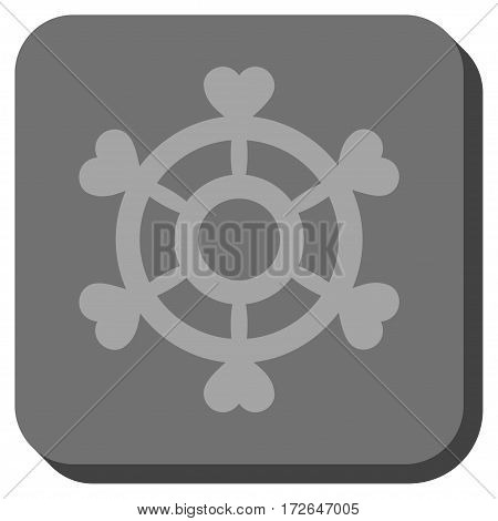 Lovely Boat Steering Wheel rounded icon. Vector pictograph style is a flat symbol on a rounded square button light gray and gray colors.
