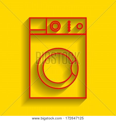 Washing machine sign. Vector. Red icon with soft shadow on golden background.