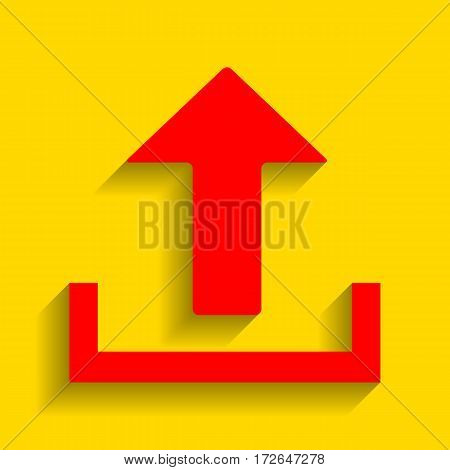 Upload sign illustration. Vector. Red icon with soft shadow on golden background.
