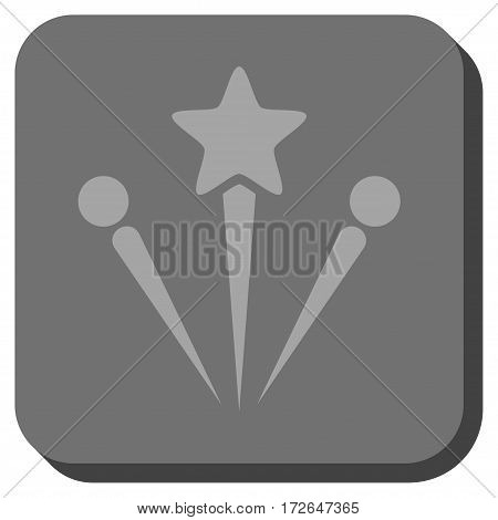 Salute Fireworks square icon. Vector pictograph style is a flat symbol on a rounded square button light gray and gray colors.