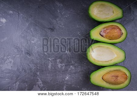 Avocado On A Gray Background