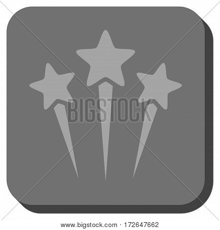 Star Salute interface button. Vector pictograph style is a flat symbol on a rounded square button light gray and gray colors.