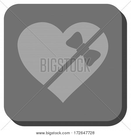 Tied Love Heart interface button. Vector pictogram style is a flat symbol on a rounded square button light gray and gray colors.
