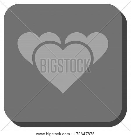 Valentine Hearts square button. Vector pictogram style is a flat symbol centered in a rounded square button light gray and gray colors.