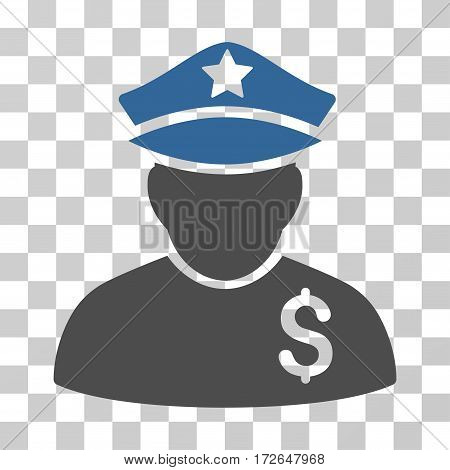 Financial Policeman icon. Vector illustration style is flat iconic bicolor symbol cobalt and gray colors transparent background. Designed for web and software interfaces.