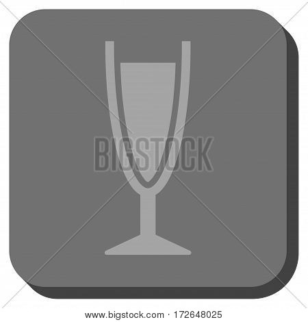 Wine Glass interface toolbar icon. Vector pictogram style is a flat symbol inside a rounded square button light gray and gray colors.