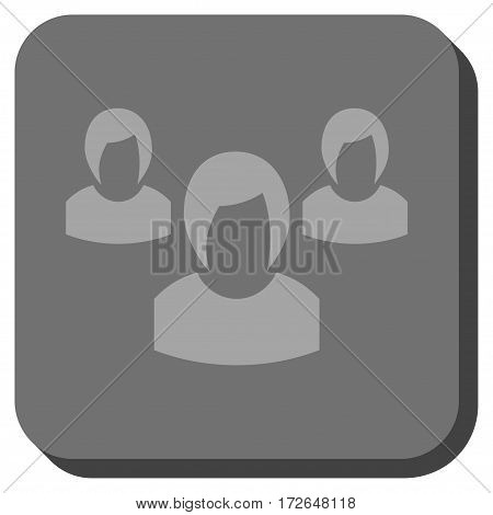 Woman Group interface icon. Vector pictograph style is a flat symbol inside a rounded square button light gray and gray colors.