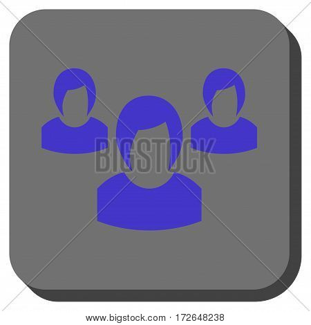 Woman Group interface toolbar icon. Vector pictogram style is a flat symbol in a rounded square button violet and gray colors.
