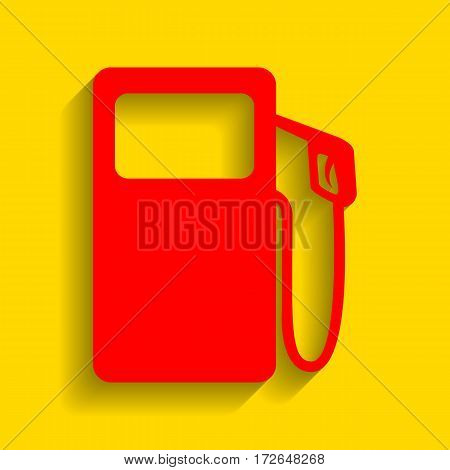 Gas pump sign. Vector. Red icon with soft shadow on golden background.