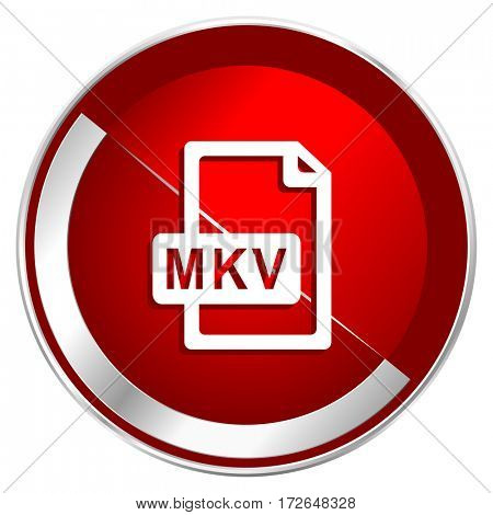 Mkv file red web icon. Metal shine silver chrome border round button isolated on white background. Circle modern design abstract sign for smartphone applications.