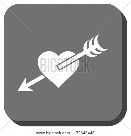 Arrow Heart toolbar icon. Vector pictograph style is a flat symbol in a rounded square button white and gray colors.