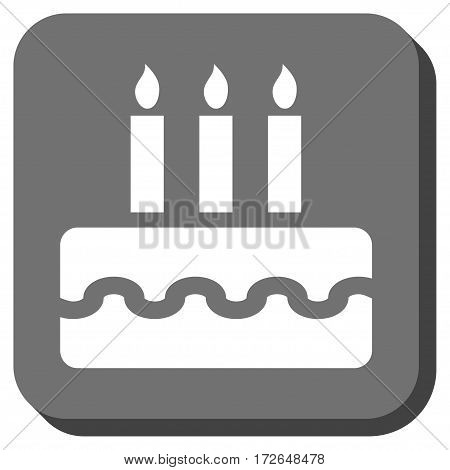 Birthday Cake toolbar button. Vector pictogram style is a flat symbol in a rounded square button white and gray colors.