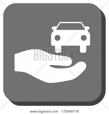 Car Gift Hand square icon. Vector pictogram style is a flat symbol centered in a rounded square button white and gray colors.