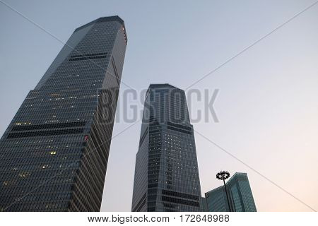 SHANGHAI - FEBRUARY 26: Shanghai world financial center skyscrapers in lujiazui group in Shanghai, China, February 26, 2016.