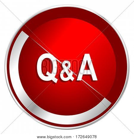 Question answer red web icon. Metal shine silver chrome border round button isolated on white background. Circle modern design abstract sign for smartphone applications.