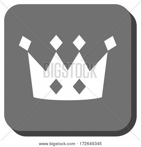 Crown rounded icon. Vector pictograph style is a flat symbol in a rounded square button white and gray colors.