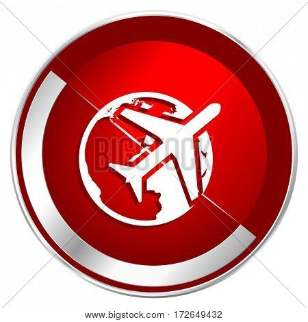 Travel red web icon. Metal shine silver chrome border round button isolated on white background. Circle modern design abstract sign for smartphone applications.