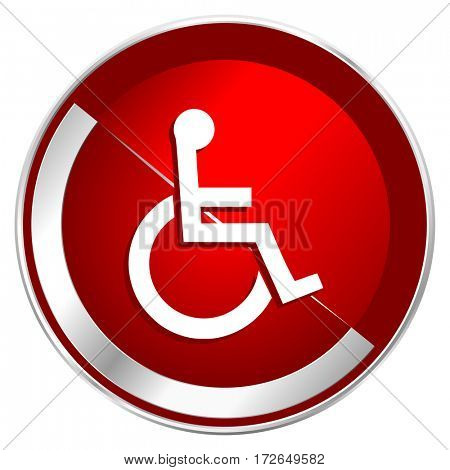 Wheelchair red web icon. Metal shine silver chrome border round button isolated on white background. Circle modern design abstract sign for smartphone applications.