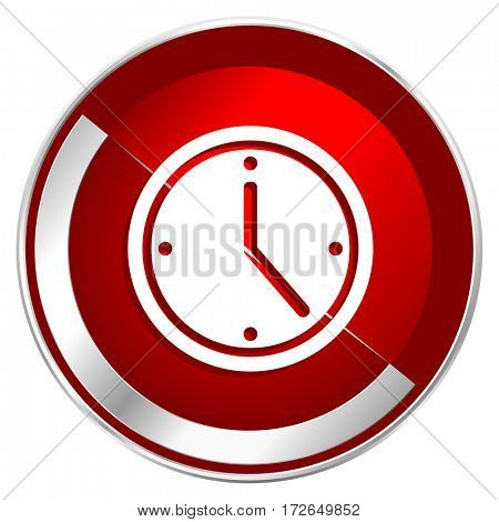 Time red web icon. Metal shine silver chrome border round button isolated on white background. Circle modern design abstract sign for smartphone applications.