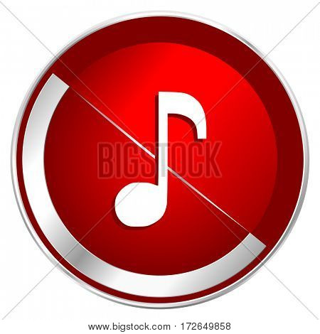 Music red web icon. Metal shine silver chrome border round button isolated on white background. Circle modern design abstract sign for smartphone applications.
