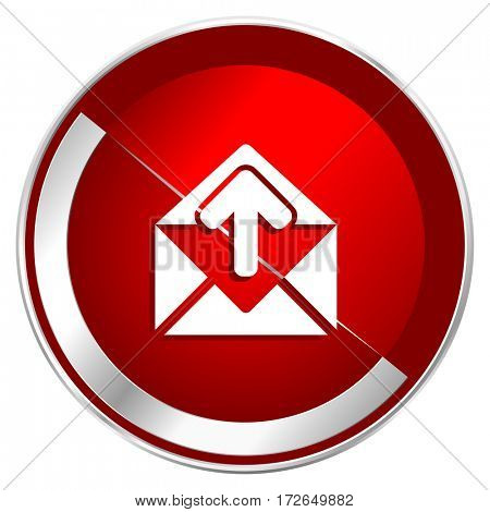 Email red web icon. Metal shine silver chrome border round button isolated on white background. Circle modern design abstract sign for smartphone applications.