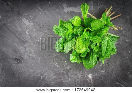 A Bunch Of Mint Tied With Twine On A Gray Background