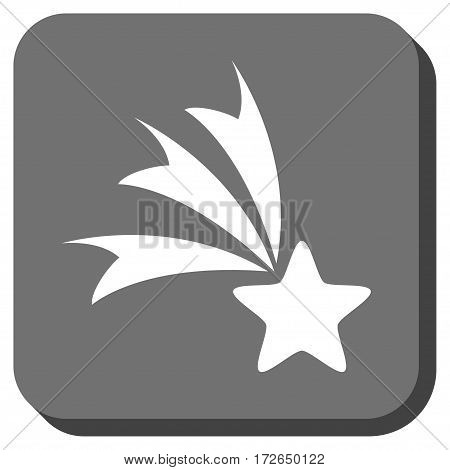 Falling Star square button. Vector pictogram style is a flat symbol centered in a rounded square button white and gray colors.