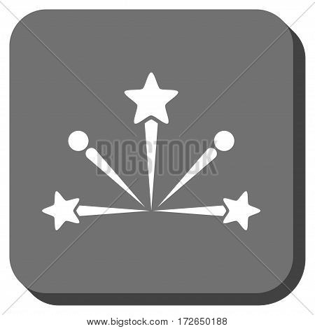 Fireworks Bang square button. Vector pictogram style is a flat symbol centered in a rounded square button white and gray colors.