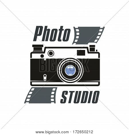Camera vector and photo film vector icon of retro photograph camera with flash light, photo capture lens. Isolated emblem or sign for photography or photographer school and studio