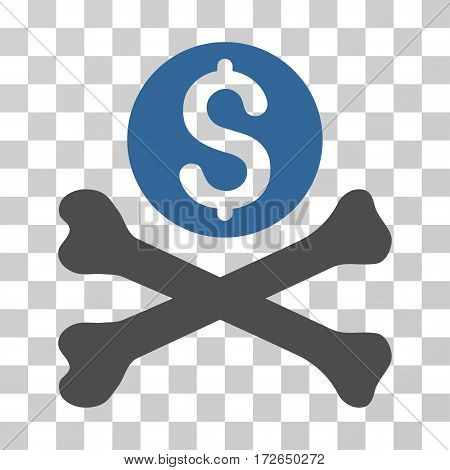 Mortal Debt icon. Vector illustration style is flat iconic bicolor symbol cobalt and gray colors transparent background. Designed for web and software interfaces.
