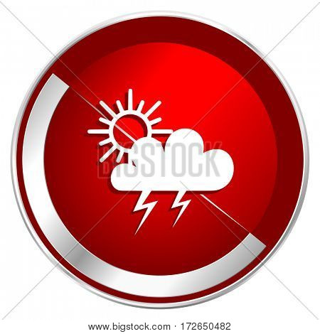 Storm red web icon. Metal shine silver chrome border round button isolated on white background. Circle modern design abstract sign for smartphone applications.