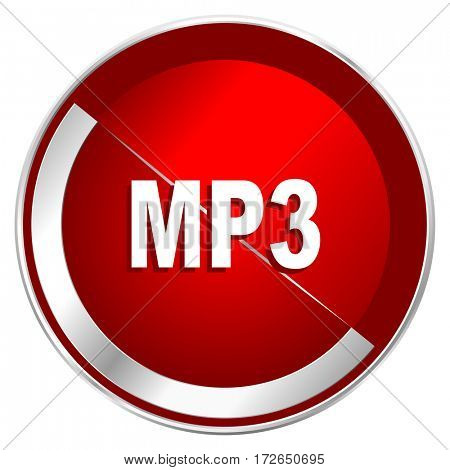 Mp3 red web icon. Metal shine silver chrome border round button isolated on white background. Circle modern design abstract sign for smartphone applications.