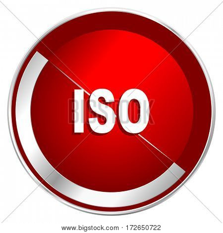 ISO red web icon. Metal shine silver chrome border round button isolated on white background. Circle modern design abstract sign for smartphone applications.
