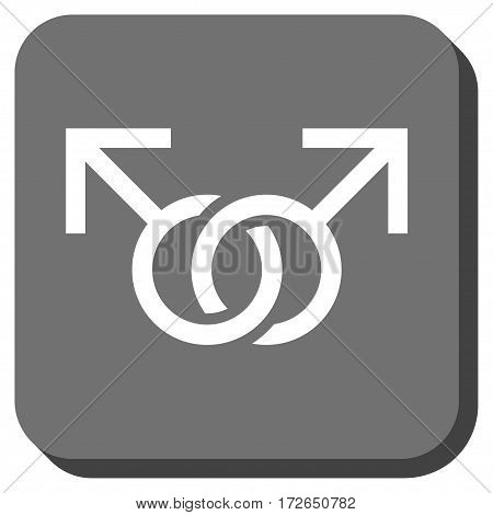 Gay Love Symbol toolbar button. Vector pictogram style is a flat symbol in a rounded square button white and gray colors.
