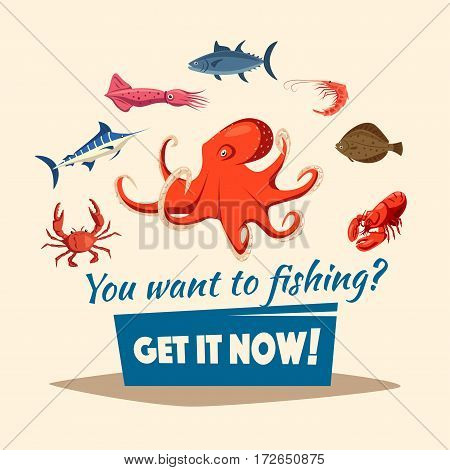 Fishing vector poster of fishes and marine seafood mollusks octopus and crab or crayfish, lobster and flounder, shrimp or prawn and marlin, tuna and squid. Fisherman or fisher trip catch