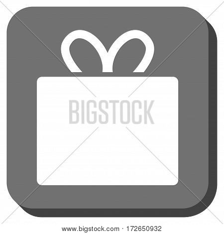Gift toolbar icon. Vector pictogram style is a flat symbol inside a rounded square button white and gray colors.
