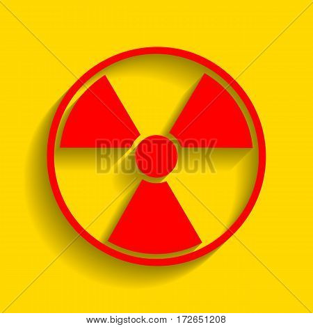 Radiation Round sign. Vector. Red icon with soft shadow on golden background.