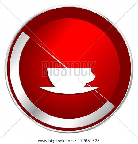 Espresso red web icon. Metal shine silver chrome border round button isolated on white background. Circle modern design abstract sign for smartphone applications.