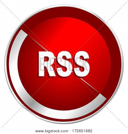 Rss red web icon. Metal shine silver chrome border round button isolated on white background. Circle modern design abstract sign for smartphone applications.