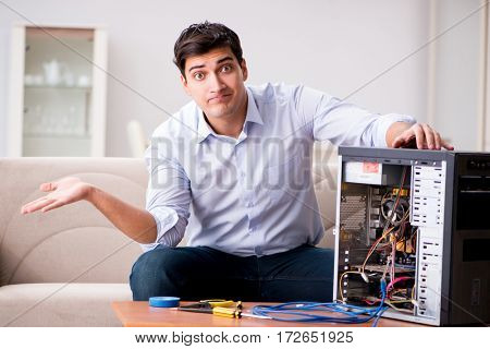 Frustrated man with broken pc computer