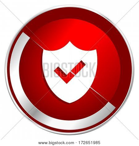 Shield red web icon. Metal shine silver chrome border round button isolated on white background. Circle modern design abstract sign for smartphone applications.