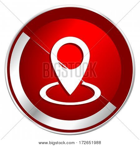 Pointer red web icon. Metal shine silver chrome border round button isolated on white background. Circle modern design abstract sign for smartphone applications.
