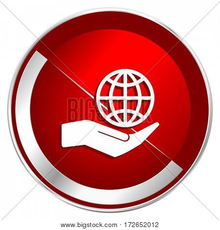 Hand protect the earth red web icon. Metal shine silver chrome border round button isolated on white background. Circle modern design abstract sign for smartphone applications.