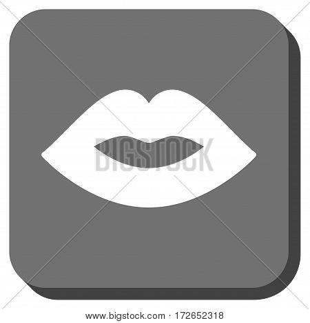 Lips interface icon. Vector pictograph style is a flat symbol inside a rounded square button white and gray colors.