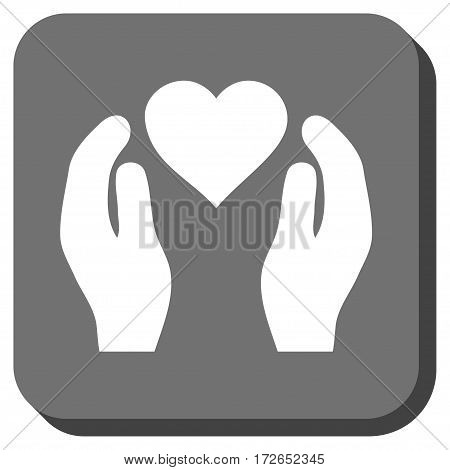 Love Care Hands interface toolbar icon. Vector pictogram style is a flat symbol centered in a rounded square button white and gray colors.