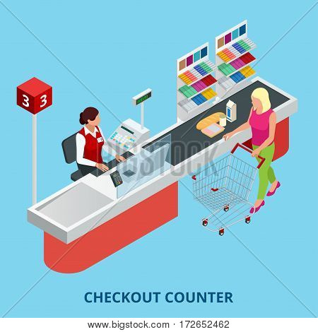 Isometric Checkout counter. Woman paying with a credit card to a store clerk in a supermarket. Quality service and supermarket web banner