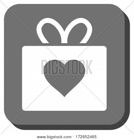 Love Gift interface button. Vector pictograph style is a flat symbol centered in a rounded square button white and gray colors.