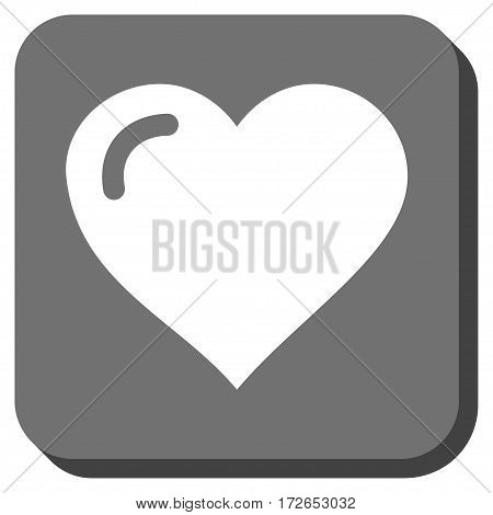 Love Heart interface toolbar icon. Vector pictogram style is a flat symbol on a rounded square button white and gray colors.