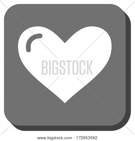 Love Heart interface icon. Vector pictogram style is a flat symbol inside a rounded square button white and gray colors.